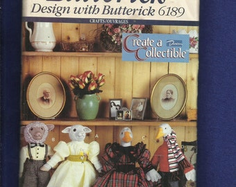 Butterick 6189 Geese & Sheep Stuffed Animals with Victorian Dresses Size 16 inches