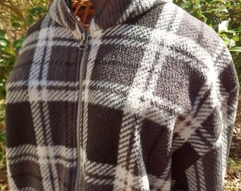Ladies Black Plaid Jacket, Size L, Premier International Zip Up Coat
