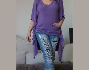 V Neck Hoodie / Butterfly Top Tunic / Knitted Cotton Spandex /  Wide and Loose Shirt / Hi Low Hem/ CH017