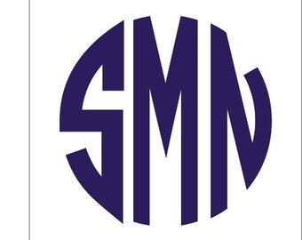 Circle Monogram Decal Small Vinyl Monogram Small Decal Vinyl Monogram Block Circle Preppy Southern Personalized Small Vinyl Decal