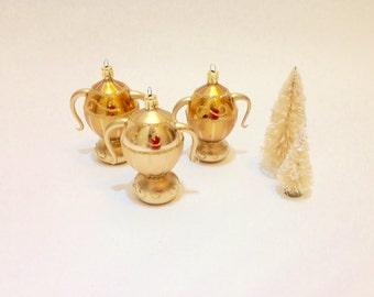 3 Vintage Christmas Ornaments, Teapots, Urns, Gold Glass Czechoslovakia, Handmade