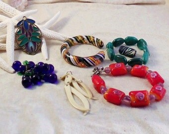 DESTASH Bracelets Beads Earrings for Craft or Jewelry with Bonus Free Orange Bracelet - Lot 3