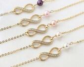 Infinity bracelet, bestfriend bracelet, Swarovski Pearl bracelet ,Bridesmaid gift