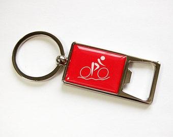 Keyring bottle opener, Bicycle keyring, Bottle Opener, Keychain, Beer bottle opener, Bicycle, gift for him, stocking stuffer,red,blue (4604)