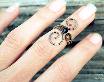Midi ring with crystal ~ Wire wrapped