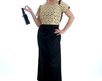 80s Vintage Dress, Black and Gold, Maxi Dress, Acetate and Rayon, Baroque Dress, Short Sleeves Dress, Women Vintage Dress, Beautiful Dress