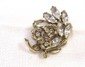 Vintage Rhinestone Pin, Retro Jewelry, Flower Spray, Wedding Jewelry, Hollywood Glamour.