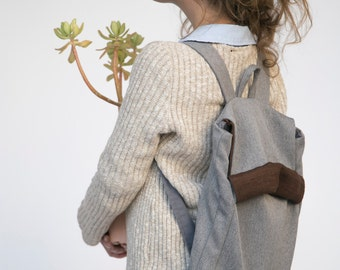 Grey Laptop Backpack, Gray Backpack, Canvas backpack, Men Backpack, School Backpack, Vegan Backpack, College Backpack, Back to School