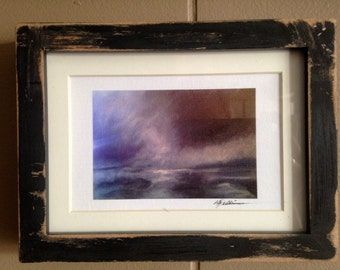 Dissolve. Hand distressed small framed giclee print.  Antiqued moody abstract landscape