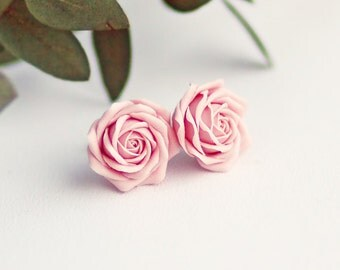 Soft pink rose studs, sterling silver 925 flower studs, pink roses, poink flower studs, gift for women, gift for her, fashion studs, wedding