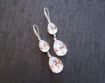 Double Tear Drop Swarovski Crystal Earrings/Wedding Earrings/Bridesmaid Jewelry/Crystal Earrings/ Bridesmaid Gift/Swarovski Crystal Earrings