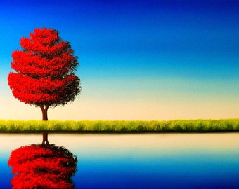 Red Tree Landscape Painting Art Print, Giclee Print of Fall Tree Blue Sky Oil Painting, Contemporary Art Canvas Wall Decor, Small 5x7 Print