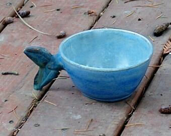 Handmade Pottery Coffee Mug, Pottery Soup Mug , Pottery Fish Mug, Blue Green Gray, Hand thrown Stoneware Pottery, Fish Tail, Father's Day