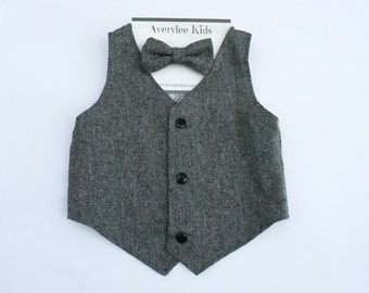 Garret Boy's Grey Tweed Vest, Ring Bearer Attire, Boys Vest,Toddler Boys Vest, Baby Boy Vest, Boys Gray Tweed Vest, Page Boy