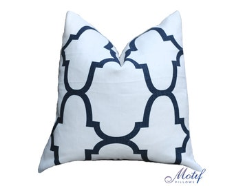 Kravet Riad Pillow Cover - Geometric Design Pillow Cover - Throw Pillow - Modern Woven Indigo Pillow - Moroccan - Kravet - Motif Pillows