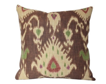 Designer Brown and Green Ikat Pillow Cover