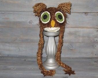 Newborn Brown Owl Crochet Hat With Braids, photo prop, fuzzy