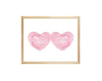 Twins Baby Gift, Baby Art, Twins Shower Gift, Sisters Print, Twin Babies, Twins Watercolor, Pink Nursery Art 8x10, Heart Art, Twins Gift