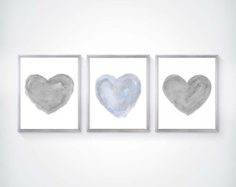 Blue Gray Art, Set of 3 - 8x10 Watercolor Prints, Blue and Gray Nursery Art, Pale Blue Nursery Art, Gray and Blue Wall Decor, Blue Gray Art