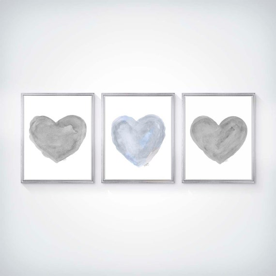 Blue and Gray Nursery Prints, Set of 3 - 11x14 Heart Prints