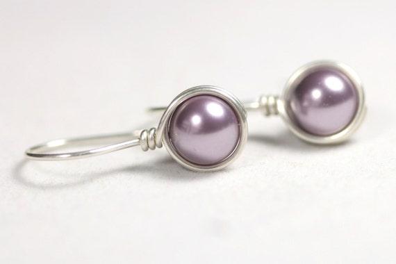 Purple Pearl Earrings Wire Wrapped Jewelry Handmade Sterling Silver Jewelry Handmade Purple Earrings Pearl Drop Earrings Bridal Earrings