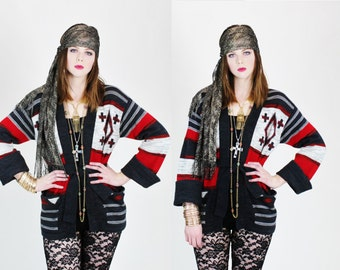 1970s Southwestern Navajo Tribal Print Red and Black Wrap Around Sweater