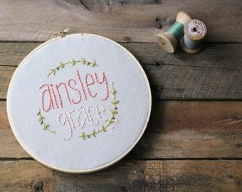 Baby Name Embroidery Hoop / Personalized / Baby Girl / Ombre Coral