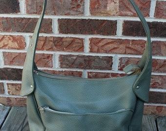 Vintage Faux Leather Olive Shoulder Bag With Adjustable Carrying Strap