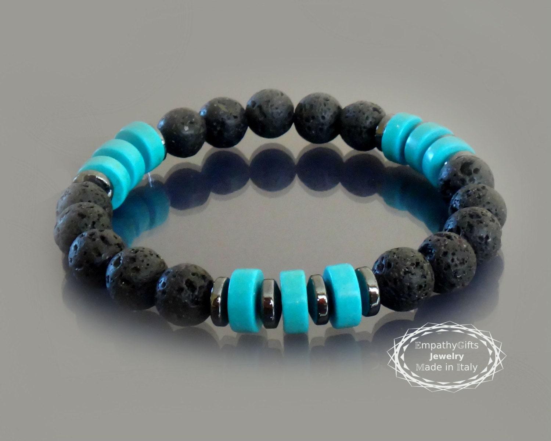 mens black lava beaded bracelet w turquoise and hematite