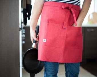 Red linen barista apron, florist apron, barista apron, shop apron, work apron, waiter apron, lithuanian linen, server apron, aprons for men
