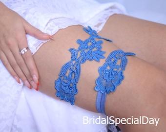 Wedding Garter, Wedding Garter Set, Something Blue, Handmade Garters, Lace Bridal Garter, Blue Garter Set, Lingerie Garter, Prom Garter,Gift