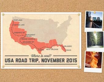 Personalised USA Road Trip Map DIY printable poster