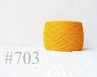 Bright Yellow  linen crochet thread -  laceweight  linen yarn # 703