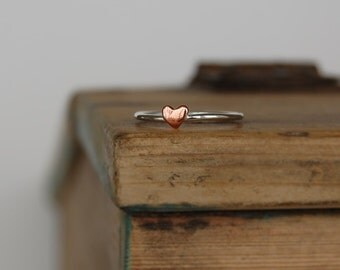 Copper Heart Sterling Silver Stacking Ring
