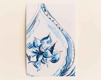 Any 1 Blue China Inspired Watercolor Print