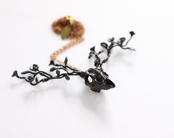 Black Golden Deer Flowers Antler Necklace Charm / Jewelry / Pendant
