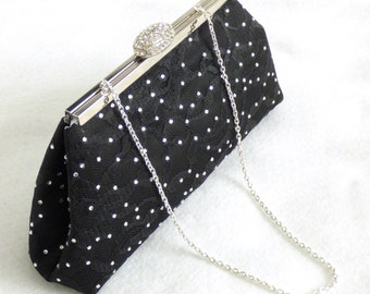 Personalized Bridesmaid Gift, Rhinestone Bridal Clutch, Black And Silver Wedding Clutch, Mother Of The Bride Gift, Bridal Shower Gift