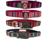 Ethnic dog collar dog leash Purple pink South American pet collar for small dog large dog Navajo Aztec girl dog boy dog collar