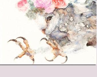 Mother Owl - Watercolor Art Print - 8 x 10