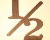 Wood Numbers ONE HALF Sign Half Year Old Birthday Decorations Half Off Sign Walnut Hardwood (1/2 Cutout.  Walnut)