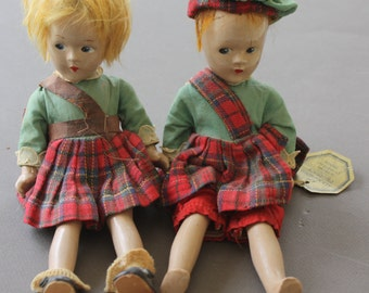 Madame Alexander Composition 1930s Pair of Scotch Dolls