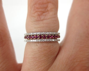 Set of 3: Ruby Eternity Band  + Two Micro Pave Diamond Eternity Bands.
