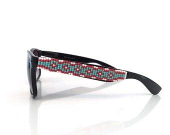 Polarized Sunglasses, Beaded Sunglasses, Ray Ban Style, Huichol-Inspired Sunglasses, Hand Beaded, Seed Beads, Wayfarer Sunglasses, Gift Idea