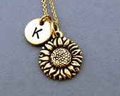 Sunflower necklace, Gold sunflower charm, Sunflower jewelry, initial necklace, initial hand stamped, personalized, antique gold, monogram