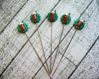 5 Mini Frappuccino Starbucks Coffee Inspired Handmade Decorative 2 inch Stick Pins - Sewing Pins - Scrapbook Embellishment Pins - QPMC6
