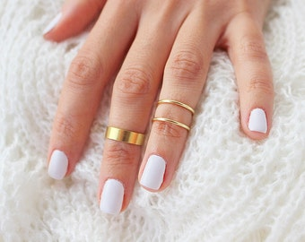New Gold  Knuckle Ring Set of 3 Above the Knuckle Rings, Stacking  Midi Ring, Gold Rings,  Mid Knuckle Ring