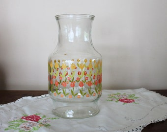 Anchor Hocking Carafe with Pink and Yellow Tulips