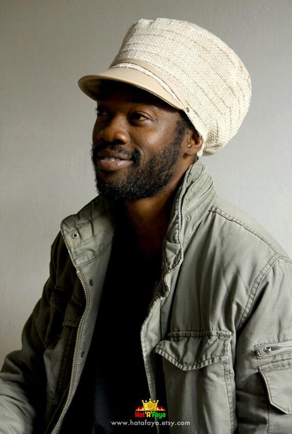 Beige hat for dreadlocks Faux Leather Satin lined Unisex Dreadlock Hats For Men