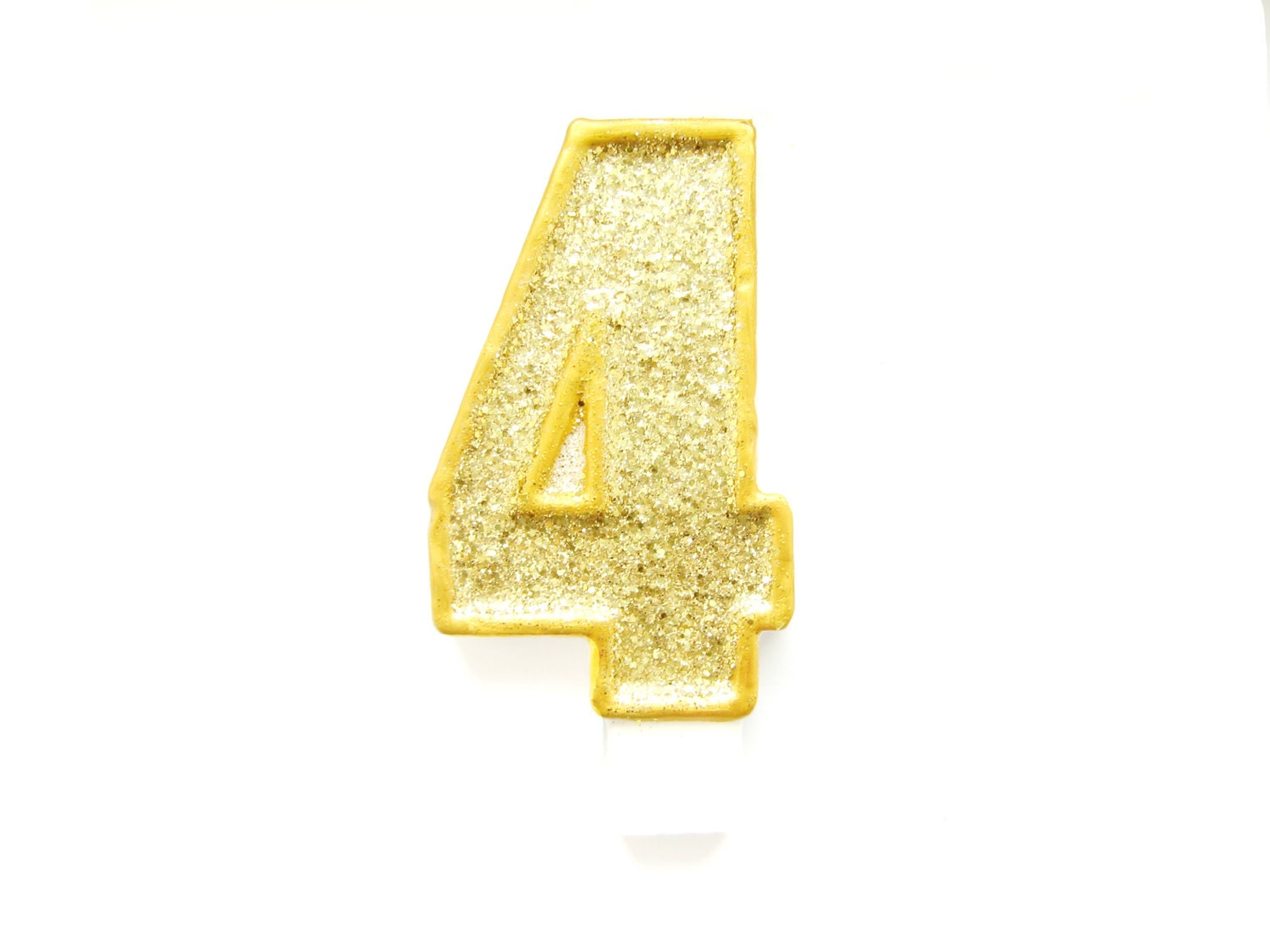 Giant Gold Glitter Number 4 Birthday Candle