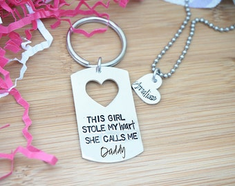Father Daughter Key Chain & Necklace Set - This Girl Stole my Heart. She Calls me Daddy - Father's Day - Dad Key Chain - Hand Stamped